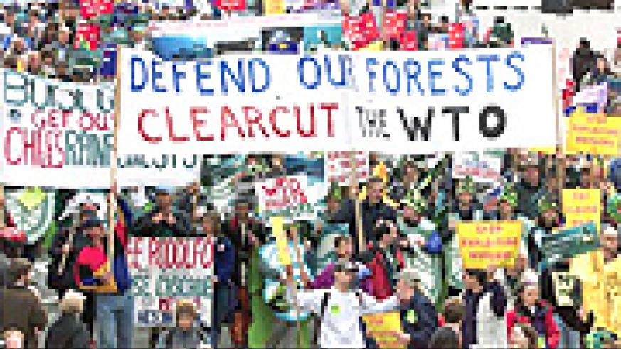 Anti-WTO demonstrations in Seattle, Wash in 1999.