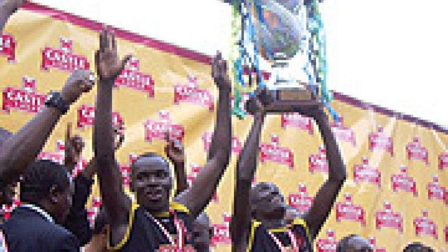 BEST OF THE REGION: Tusker players celebrate winning the 2008 Kagame Cup. The Kenyan champions beat their Ugandan counterparts URA 2-1 in the final played on Sunday in Dar es Salaam. (Photo /D. Kasule).