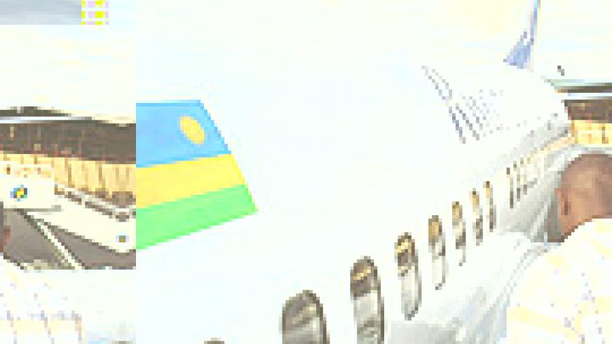Rwandair plane at Kigali International Airport. The embattled airline's privatization has been postponed. (File photo)