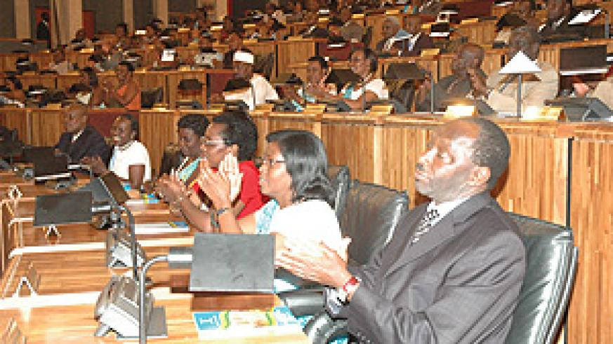 Members of the just dissolved Parliament being addressed yesterday. (Photo/ G.Barya)