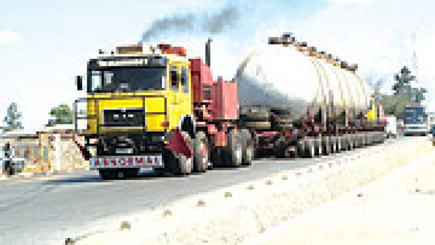 A fuel truck on the road.