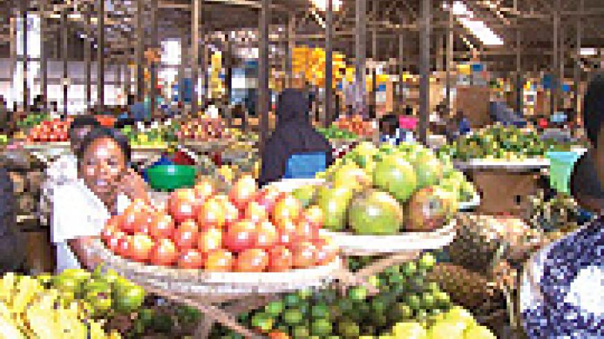 Kimironko market of Kigali city which is ever busy as vendors sell their fruits and vegetables