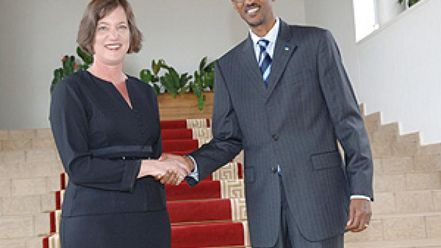 President Kagame receives Australia's first Ambassador to Rwanda, Lisa Filipetto (Photo PPU)