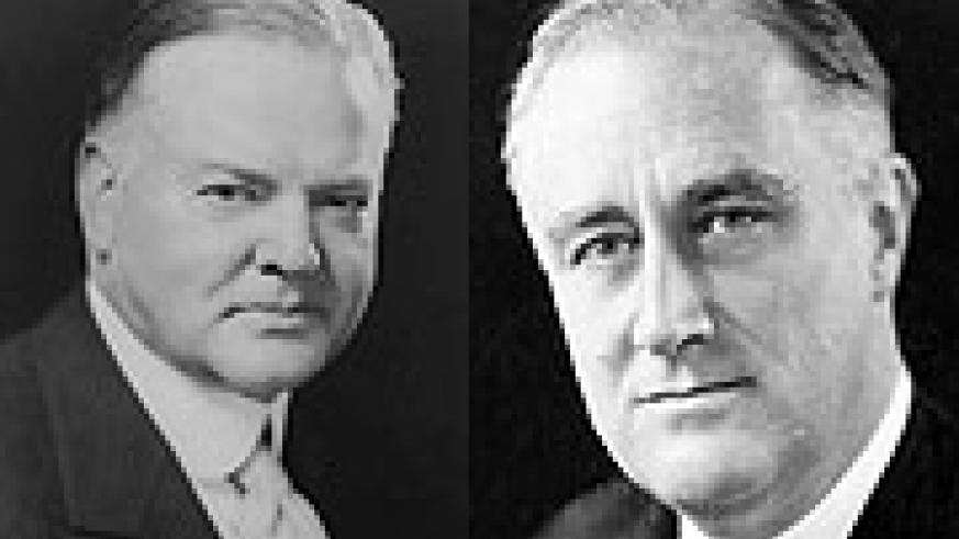 L-R:Hoover was a victim of The Great Depression, Franklin Roosevelt was helped by economic crisis to kick out Hoover.