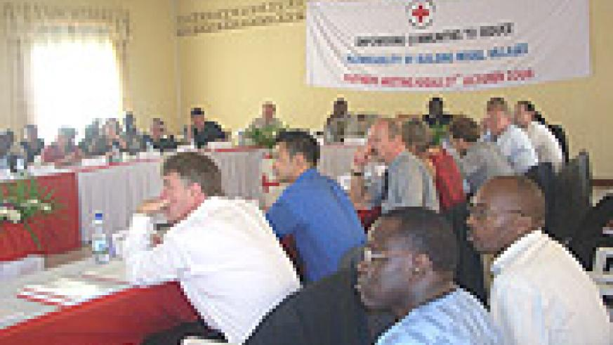Rwanda Red Cross and Stakeholders listen attentively during partners' meeting at the Red Cross Headquarters yesterday. (Photo/ R.Mugabe).