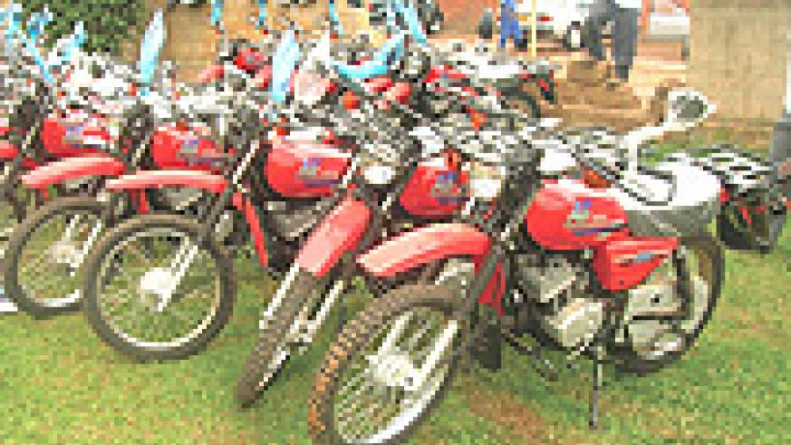 TRANSPORT SORTED: The above motorcycles were some of the items awarded to environmental activists countrywide. (Courtesy Photo).