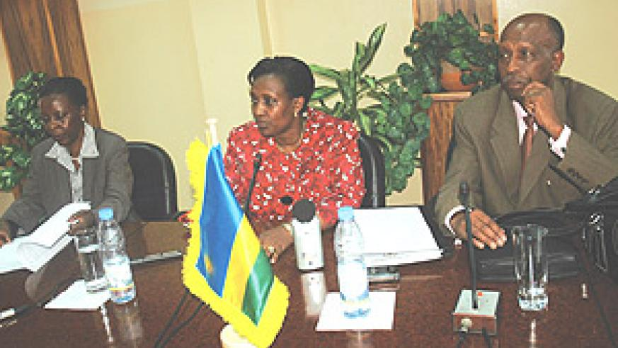 Rosemary Museminali, Foreign Affairs Minister briefing the press.