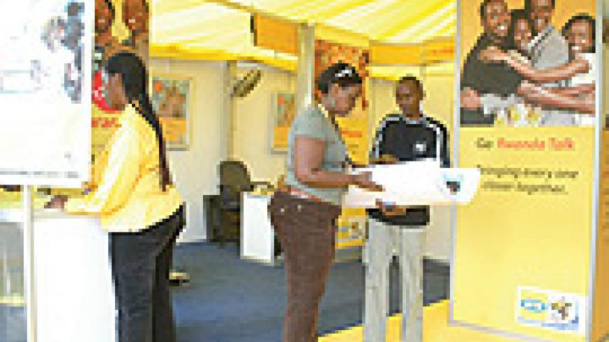 MTN Staff at the recent International Expo in Gikondo.(File photo)