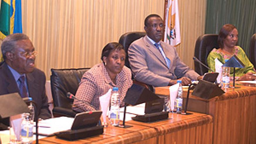 Foreign Affairs Minister, Rosemary Museminali, and her Defence counterpart, Gen Marcel Gatsinzi, appearing before Parliament yesterday. (Photo/ G.Barya).