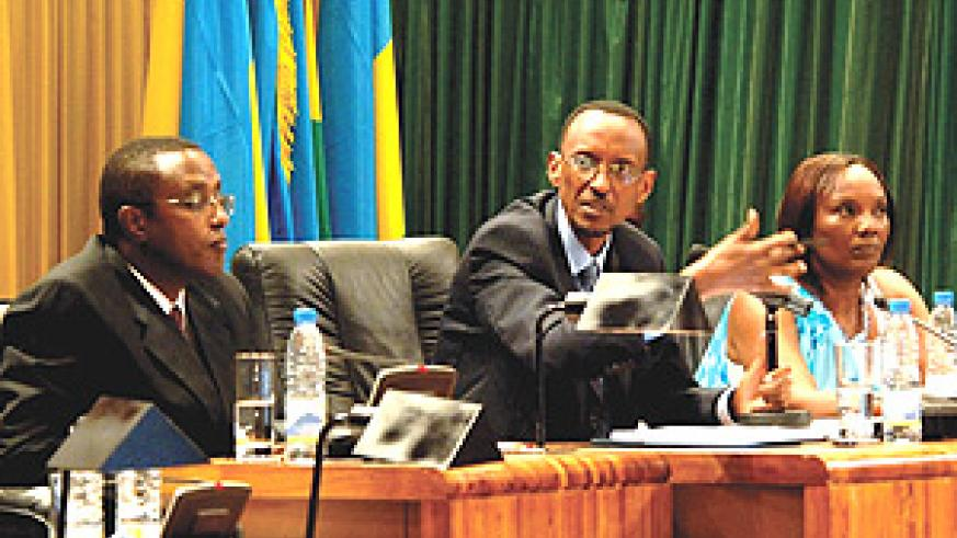 H.E Paul Kagame with the Senate President Vincent Biruta and Speaker of the Parliament Rose Mukantabana at the National Dialogue Conference yesterday. (Photo/G.Barya).