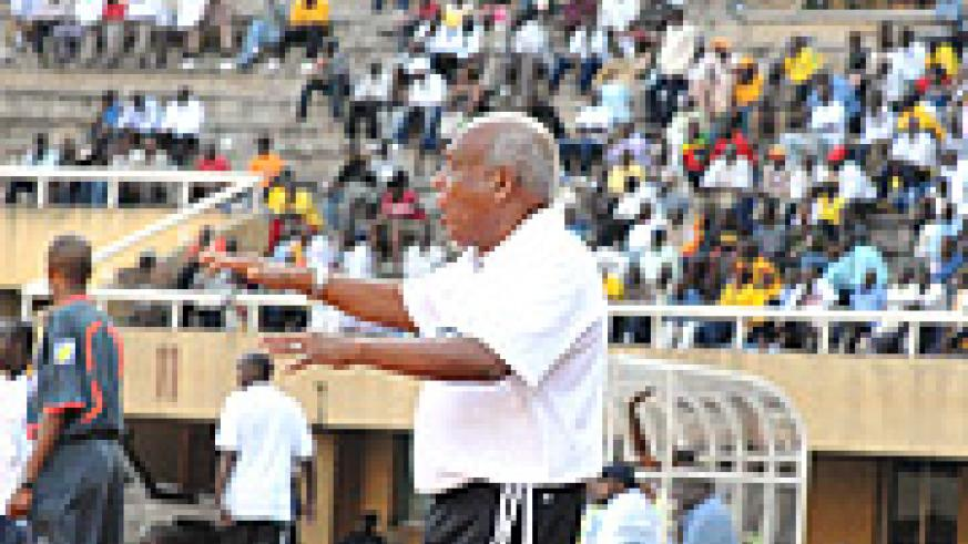 Somalia's coach Mohamed Abdi Farah shouts instructions during his team's game against Tanzania. He has warned Rwanda to watch out. (Photo / A. E.Oryada).