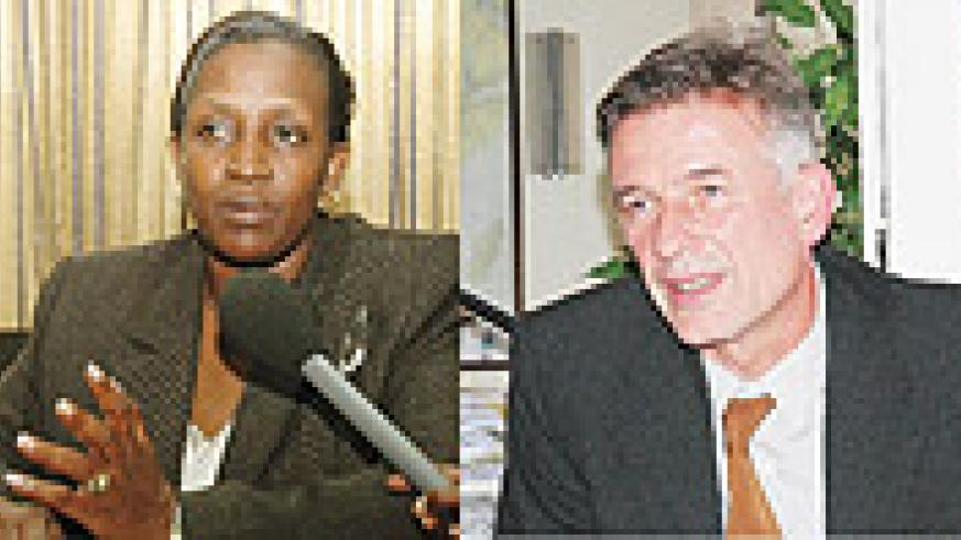 L-R: Rosemary Museminali,German envoy Christian Clages was given 48 hours to leave.