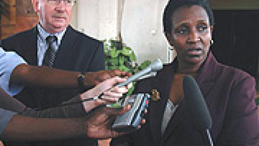 Foreign Affairs Minister Rosemary Museminali speaking to the press shortly after signing the pact with the Belgians. (Photo/ J. Mbanda)