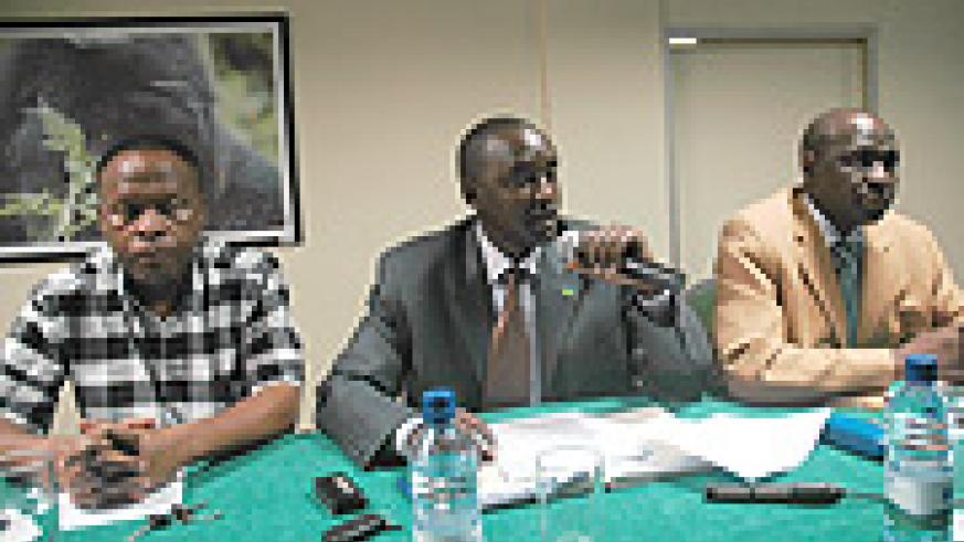 L-R: Paul Mbaraga , Parice Murama and Venuste Karambizi at the release of findings on the establishment of the Media Support Fund.