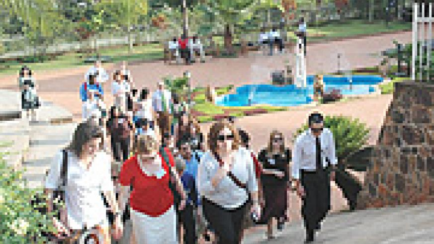Peace Corps leave the Kigali Memorial Centre after their visit yesterday. (Photo J. Mbanda).