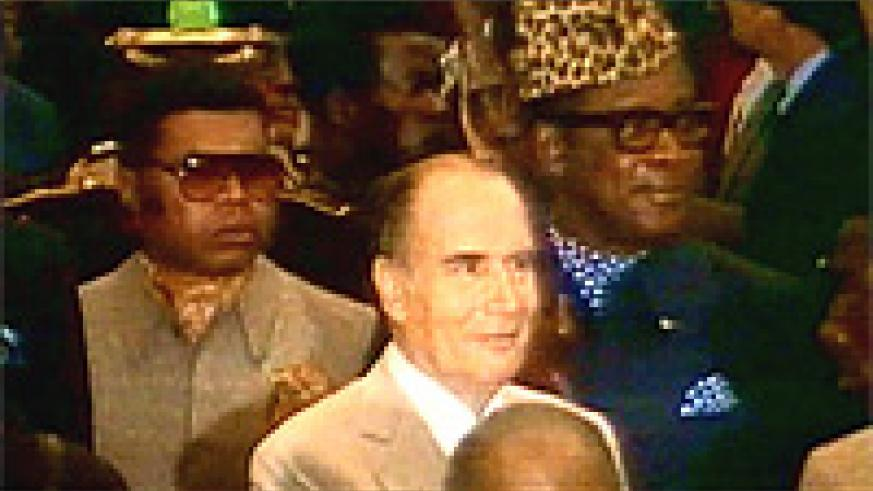 President Francois Mitterand in the company of President Mobutu.