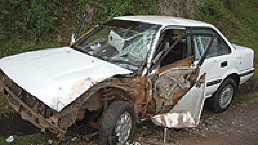 The Toyota Corolla that was involved in the accident  with a heavy truck. (Photo/ R. Mugabe).