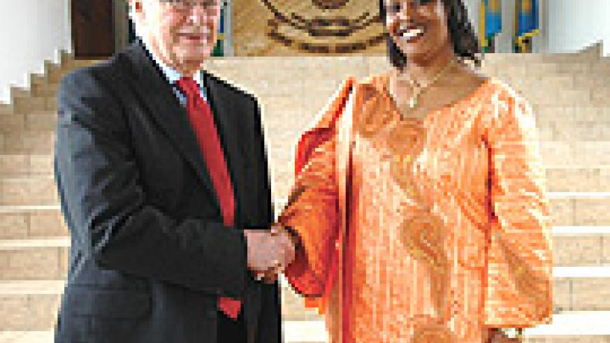 Bo Ekman with Amb. Jacqueline Mukangira after their meeting with the President yesterday. (PPU Photo).