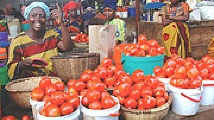 Women selling tomatoes in Remera. They would benefit from the gender budgeting once it is approved. (File Photo)