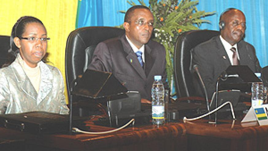 Senate President Vincent Biruta(c) with the Speaker of Burundi Parliament,Pie Ntavyohanyuma(R)and the president of supreme court,Aloysia Cyanzaire, at the official opening of international Conference on the Development of an Equitable information society.
