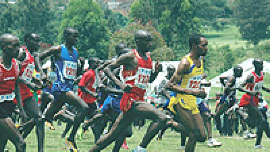 ONE IN ONE OUT: Dieudonne Disi (2nd from left) will miss today's national cross country trials championship to leave Sylvain Rukundo (third from left) as the favourite for the title. (File photo).