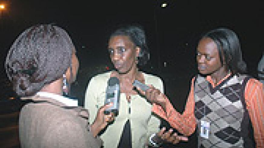 Rose Kabuye in an interview with reporters on arrival at Kigali International Airport last evening. (Photo/ J. Mbanda).