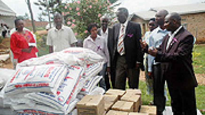 NEC staff with their donations.