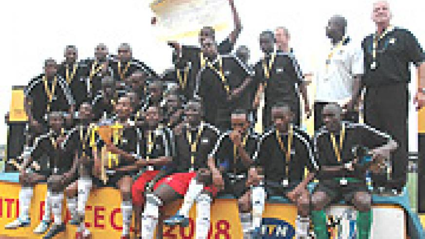 APR players celebrate after winning last year's MTN Peace Cup. The defending champions take on Musanze in the quarterfinal this afternoon without eight key players. (File photo).