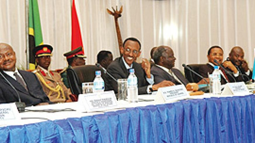President Kagame  chairing the 10th Ordinary EAC  Summit in Arusha, Tanzania yesterday (PPU Photo)