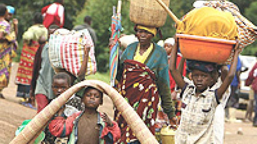 Refugees fleeing fighting in Eastern Congo.The negative forces must be defeated so that civilians lead a normal life.