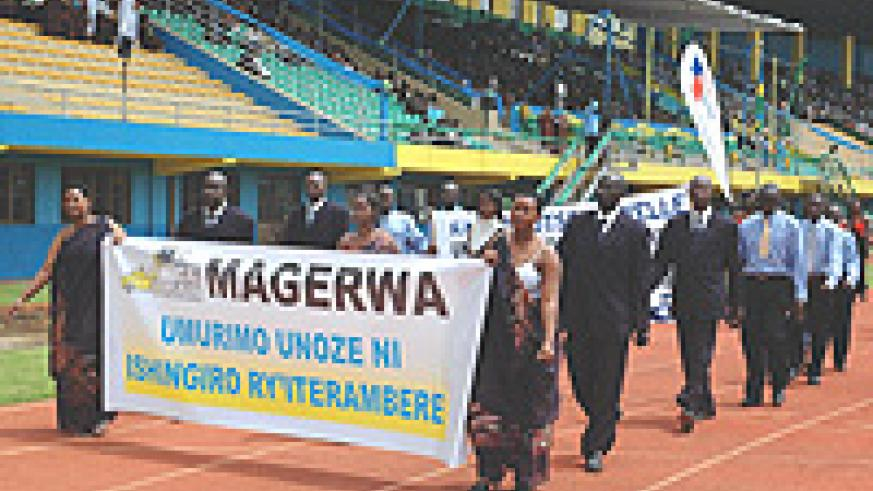 Magerwa staff march on Labour Day.