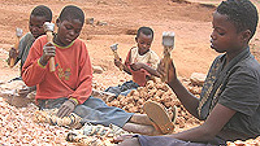 Child labourers at a stone quary in Nyaconga.