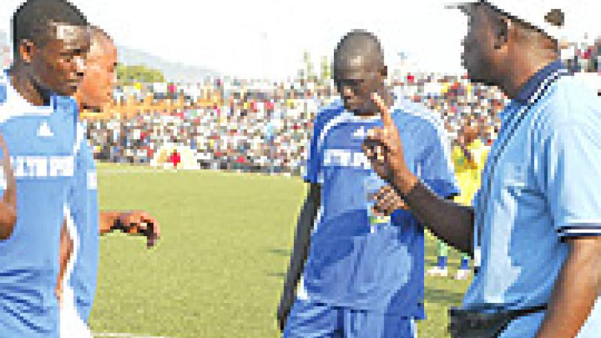TAKE MY WORD: Raoul Shungu gives instructions to his players during last year's MTN Peace Cup semi-final clash with Atraco. The Congolese coach was dismissed on Thursday on disciplinary grounds. (File photo).