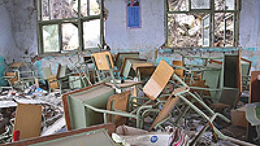 A classroom of Beichuan New Middle School in Sichuan province China, pictured after most of the school was destroyed by the May 12, 2008 earthquake.