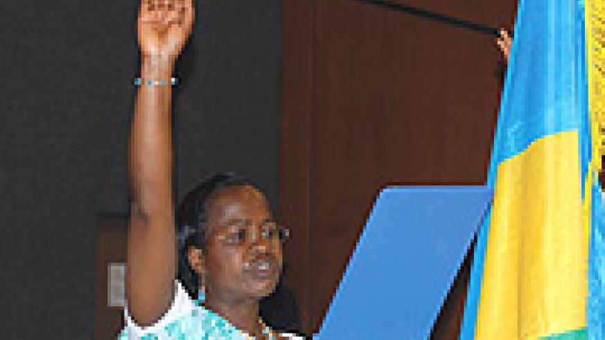 Beatrice Nirere taking the oath to become MP last year. She was arrested five months into her 5-year term.