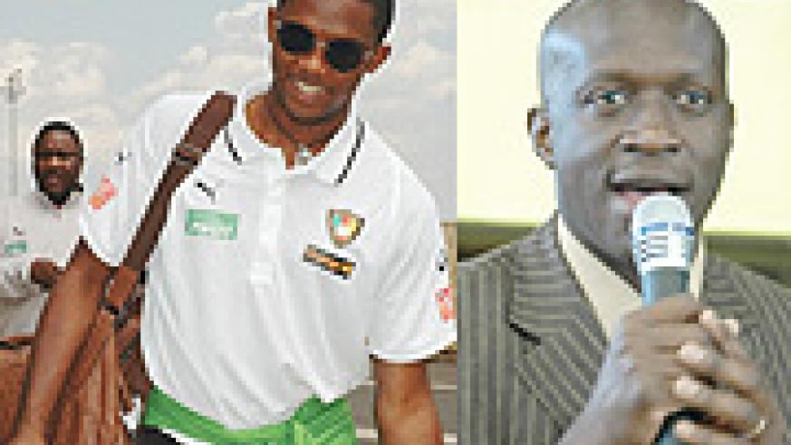 L-R: Samuel Eto'o on his previous trip to Rwanda in 2006, Sports Minister Joseph Habineza.