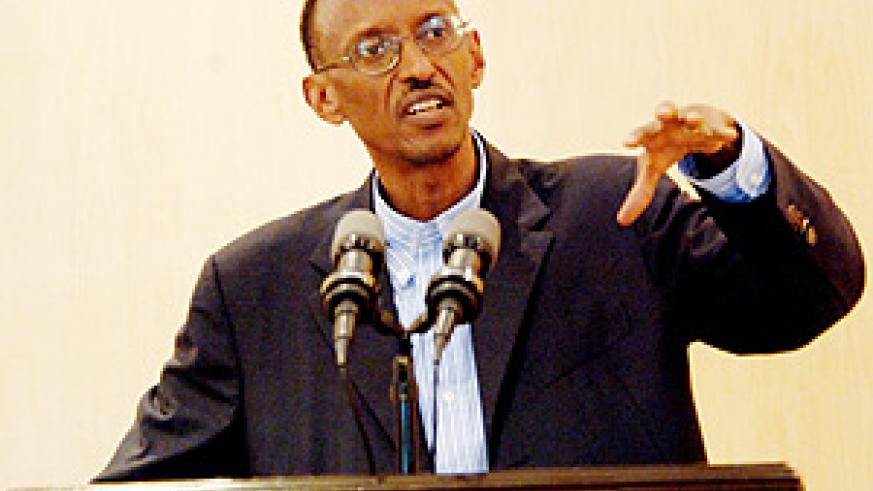 President Paul Kagame at the press conference yesterday (PPU photo)