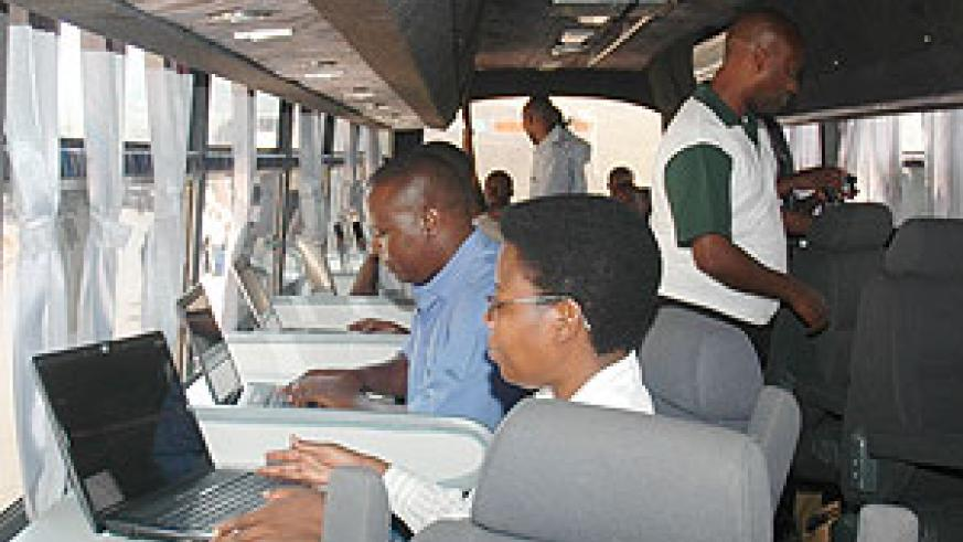Inside one of the new mobile ICT buses on its way to Kigali (Photos J Mbanda)