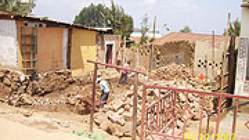 One of the demolished houses in Byumba town. The owner Anasthase Hategekimana says he will put up a modern structure. Photo A Gahene