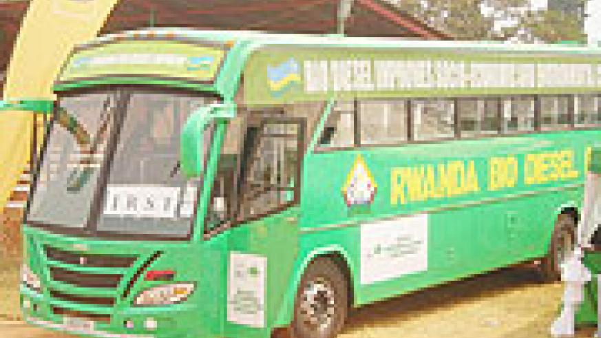 A Bio Diesel powered  bus on display at the IRST stand at the ongoing mini-expo in Huye town. (Photo: P. Ntambara)