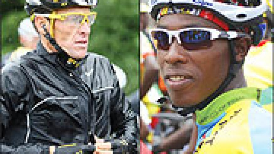 L-R:Lance Armstrong of the USA will lead Team Astana;Rwanda's Niyonshuti will test himself against the world's best riders in the Tour of Ireland