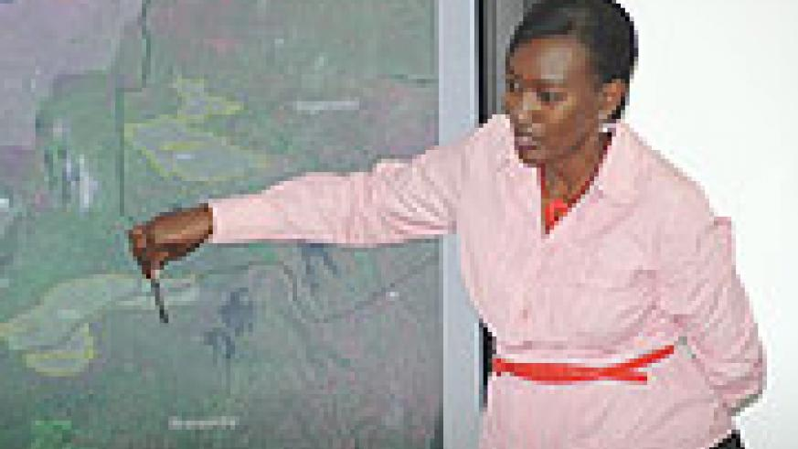 RDB Deputy CEO Rosette Rugamba explaining issues to do with Volcanoes National Park's conservation recently.