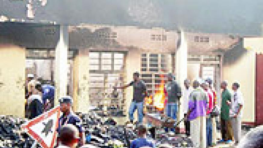 The scene of fire outbreak which razed down some shops in Musanze. (Photo: B. Mukombozi)