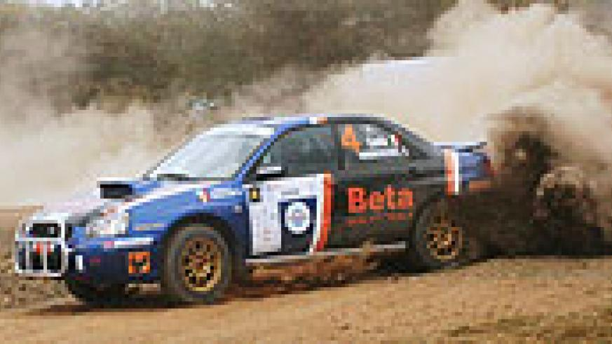 Olivier Costa crusing his Subaru Impreza in the Zambia Rally before he dropped out with a failed gear box. (File photo)