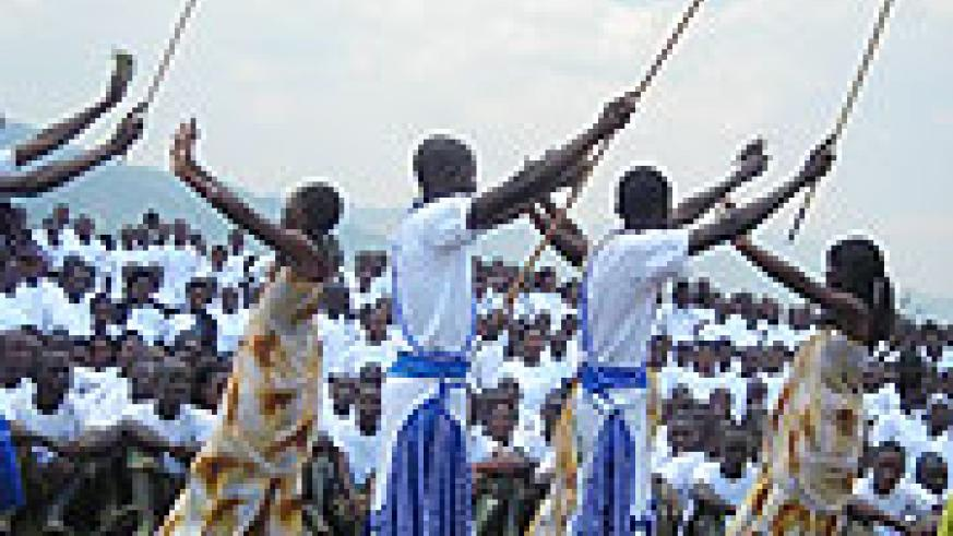 Students perfoming  a cultural dance after completing ingando.