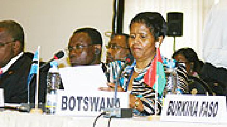 Botswana's Minister of Health, Lesego Motsumi during the 59th Session of the WHO Regional Committee in Kigali (Photo/ F. Goodman)