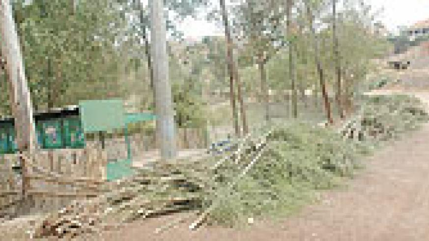 The golf course fence that was cut yesterday on orders of the Gasabo district authorities.