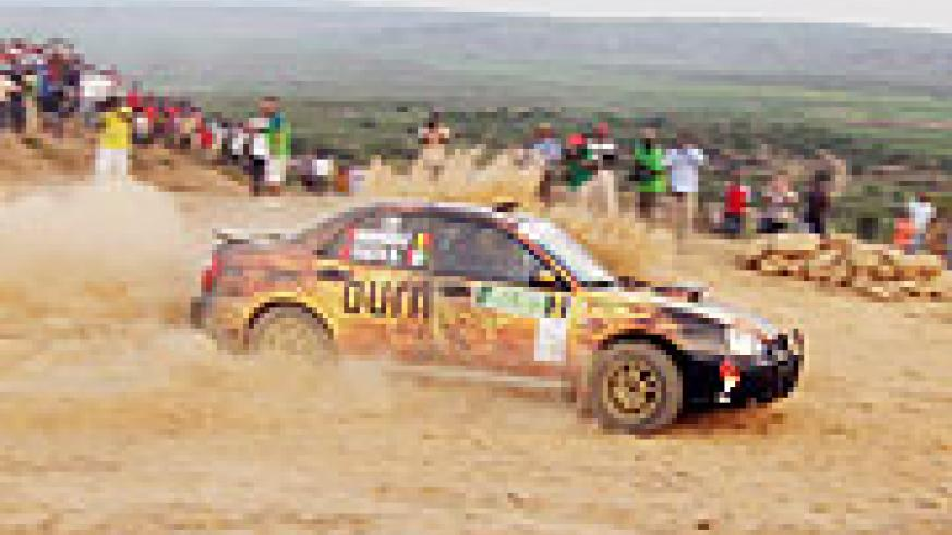 BURNING UP: Olivier Costa powers his Subaru through yesterday's 2.4km Super Special Stage. (File photo)