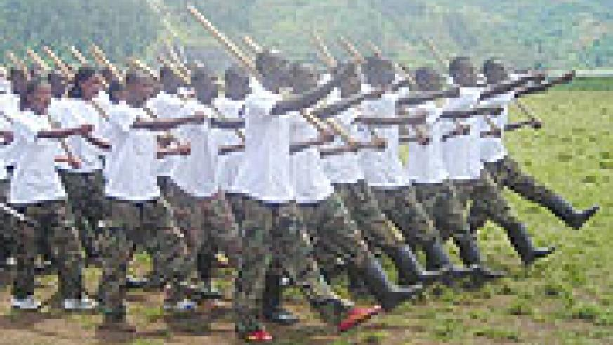 Students marching during a pass out after undergoing Ingando session (File Photo)