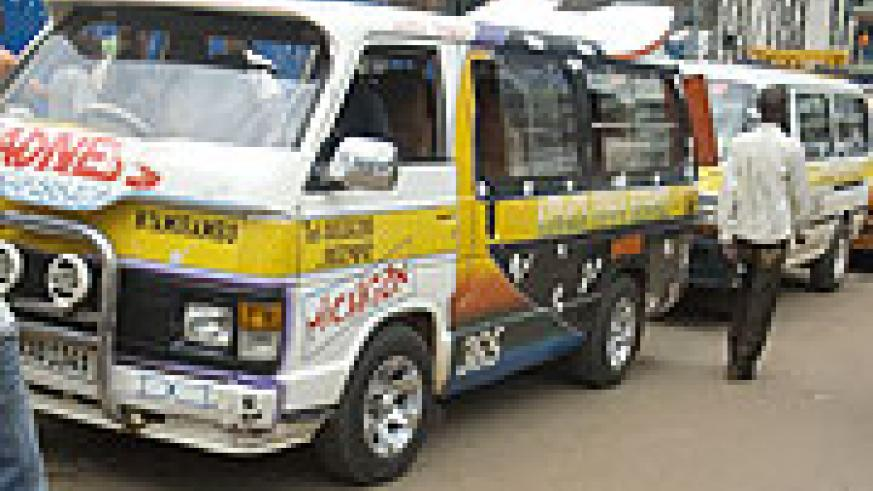 Nyamirambo bound Taxis near Kwa Rubangura in Kigali. Taxi drivers and conductors will soon be compelled to wear uniforms while on duty (File Photo)
